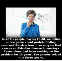 Protein, Tumblr, and Blog: Folt  In 2011, people playing Foldit, an online  puzzle game about protein folding,  resolved the structure of an enzyme that  causes an Aids-like disease in monkeys  Researchers had been working on the  problem for 13 years. The gamers solved  it in three weeks. srsfunny:  Well Done Gamers