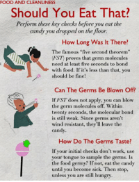 """Advice, Candy, and Doe: FOOD AND CLEANLINESS  Should You Eat That?  Perform these key checks before you eat the  candy you dropped on the floor.  How Long Was It There?  The famous """"five second theorem  EST proves that germ molecules  need at least five seconds to bond  with food. If it's less than that, you  should be fine!  Can The Germs Be Blown Off?  lf HST does not apply, you can blow  the germ molecules off. Within  twenty seconds, the molecular bond  is still weak. Since germs aren't  wind resistant, they'll leave the  candy.  How Do The Germs Taste?  If your initial checks don't work, use  your tongue to sample the germs. Is  the food germy? If not, eat the can  until you become sick. Then stop,  unless you are still hungry Today, we've got some advice on food.  How do you determine edibility?"""