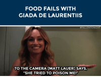 "Food, Target, and youtube.com: FOOD FAILS WITH  GIADA DE LAURENTIIS   #FALLONTO NIGHT  TO THE CAMERA IMATT LAUER]SAYS,  ""SHE TRIED TO POISON ME!"" <p><span>Giada De Laurentiis tells us about <a href=""http://www.youtube.com/watch?v=NU43WBagQls&list=RDNU43WBagQls"" target=""_blank"">her first time on live TV</a>!</span></p>"