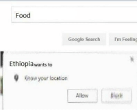 "Dank, Food, and Google: Food  Google Search  I'm Feeling  Ethiopiawants to  Knaw your location  Allow <p>Gtfo Ethiopia via /r/dank_meme <a href=""http://ift.tt/2B3l1R4"">http://ift.tt/2B3l1R4</a></p>"