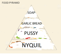 Food, NyQuil, and Pussy: FOOD PYRAMID  SOAP  GARLIC BREAD  PUSSY  NYQUIL