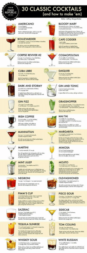 Club, Fresh, and Irish: FOOD30 CLASSIC COCKTAILS  (and how to make 'em)  REPUBLI  EST 2010  AMERICANO  し 、 BLOODY MARY  ณ0de water. Garwish wa orange Peet  BOULEVARDIER  CAPE CODDER  Gamiah with oronge peal or chenry and serve  0  .7 CORPSE REVIVER #2  COSMOPOLITAN  Shake ond wtai nto ched cocktal glass  CUBA LIBRE  DAIQUIRI  n highball g  DARK AND STORMY  GIN AND TONIC  parts Tonile  and top with ginger br Gari w  GIN FIZZ  GRASSHOPPER  1 a  ho and-half, 1 hp fernet Sronca, pinch so  IRISH COFFEE  MAI TAI  MANHATTAN  MARGARITA  dehes Angeuo  MARTINI  MIMOSA  he nte g Serve cold  MINT JULEP  MOJITO  NEGRONI  OLD-FASHIONED  Garih wh orange twist and  PIMM'S CUP  PISCO SOUR  SAZERAC  SIDECAR  TEQUILA SUNRISE  TOM COLLINS  Shake and topith dub sode Srain into chile  cos glais Garnihwi  WHISKEY SOUR  WHITE RUSSIAN  าร 44 cole.tque. 1 44 .0 kn,  os iledwih ice Float fresh creom on top and laughoutloud-club:  Drinks anyone?