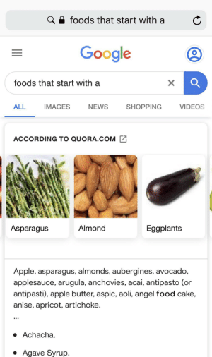 Apple, Food, and Google: foods that start with a  Google  foods that start with a  NEWS  VIDEOS  ALL  IMAGES  SHOPPING  ACCORDING TO QUORA.COM  Asparagus  Almond  Eggplants  Apple, asparagus, almonds, aubergines, avocado,  applesauce, arugula, anchovies, acai, antipasto (or  antipasti), apple butter, aspic, aoli, angel food cake,  anise, apricot, artichoke.  Achacha.  Agave Syrup.  X Just normal food that start with A