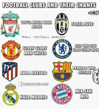Being Alone, Football, and Memes: FOOTBALL CLUBS AND THEIR CHANTS  MHMOT  YOULL NEVER WALKALONE  UVENTUS  FOOTBALL CLUBIL  YOU LL NEVER WALK  LIVERPOOL FORZA JUVE  ALONE  EST 1892  TROLL FOOTBALL GERMANY  HELSE  KEEP THE BLUE  GLORY GLORY  FLAG FLYING HIGH  MAN UNITED  UNITED  TBALL  PENAL DO WAS  AUPAYATLETICO  1 F C B  OFFSIDE  OriginalTrollFootball  BAKE  MIA SAN  MIA  HALA MADRID  CINCH Like when you see it 😂😂😂 @instatroll.soccer