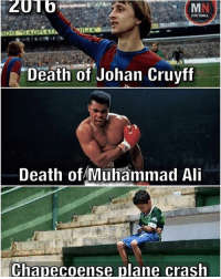 "Ali, Meme, and Memes: FOOTBALL  ""Death of Johan Cruyff  Death of Muhammad Ali  Chapecoense plane crash 2016.......😢 Follow @memes.futbal"