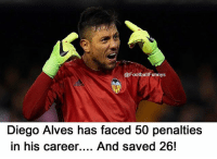 Football, Memes, and 🤖: @Football Funnys  Diego Alves has faced 50 penalties  in his career....  And saved 26! Incredible! 🔥✋🏽