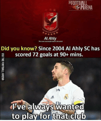 Club, Emoji, and Football: FOOTBALL  HRENA  ALAHLY  THECENTUR  Al Ahly  The most successfl club in the world  Did you know? Since 2004 Al Ahly SC has  scored 72 goals at 90+ mins.  ctrA  Pve alwavs wanteo  to play for that club Ramos 😂 🔺FREE FOOTBALL EMOJI APP -> LINK IN BIO!! Credit ➡️ @thefootballarena