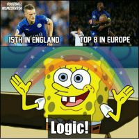 Memes, 🤖, and Top: FOOTBALL  MEMESINSTA  TOP 8 IN EUROPE  15TH IN ENGLAND  Logic! Leicester this season 😂😂 Follow @instatroll.soccer