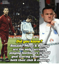 The finest records for a goal scorer 👏: FOOTBALL  OMEMESINSTA  Didiyou know?  xHALL  Ronaldo, Messi & Rooney  are the only  currently  playing footballers to  hold  goal scoring recordsfor  both their chub & country The finest records for a goal scorer 👏