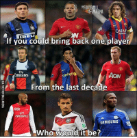 Who would it be❓ 🔻FOOTBALL APP ➡️ LINK IN OUR BIO!: FOOTBALL  PHRENA  QATAR  AIRWAYS  if you could bring iback one playe  RELL  Fly  Emirates  unicef  AON  From the last decáde  SAMSUNG  Who WKOLUL@l it'be ?.  0 Who would it be❓ 🔻FOOTBALL APP ➡️ LINK IN OUR BIO!