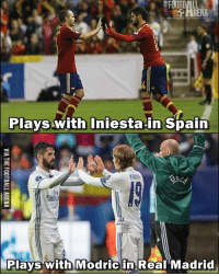 Memes, Real Madrid, and Spain: FOOTBALL  Plays with Iniesta in Spain  OO  Emin  Plays with Modric in Real Madrid Wow!... 😎👏 🔺Link In Our Bio! 🎅🏼🎄