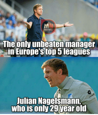 Emoji, Memes, and Emojis: FOOTBALL  The  only unbeaten manager  in Europe's top 5 leagues  Julian Nagelsmann.  who is only 29 year old Julian Nagelsmann! 👏 🔺Football Emojis for FREE. DL Link in bio!