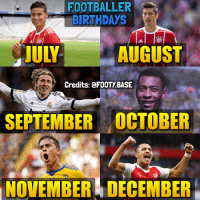 Birthday, Memes, and 🤖: FOOTBALLER  BIRTHDAYS  JULY  AUGUST  Credits: @FOOTY.BASE  SEPTEMBER OCTOBER  NOVEMBER DECEMBER Who's your birthday bro? 👀 Follow @Footy.Base ✅