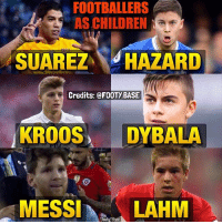 Footballers back then? 😂 Who's the cutest? 👇 Double Tap & Follow me @footy.base for more! ❤️ Thanks to FaceApp! 🔥: FOOTBALLERS  AS CHILDREN  NaE  SUAREZ  HAZARD  Credits: @FOOTy BASE  KROOS  DYBALA  MESSI  Base  LAHM Footballers back then? 😂 Who's the cutest? 👇 Double Tap & Follow me @footy.base for more! ❤️ Thanks to FaceApp! 🔥
