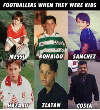 Soccer, Kids, and Ronaldo: FOOTBALLERS WHEN THEY WERE KIDS  Saillex  MESSIR  RONALDO SANCHEZ  rel  HAZARDZIATAIN  COSTA 😂😂 https://t.co/EzqrX6zk2Q