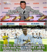Did you know?👇🔥😳 Follow @memesofootball: FOOTBILL  MARC  MARCA ES  MARCA  ESES MA  DID YOU KNOW THAT THE LEFT  GOLDEN B0OT IS JUST A REPLICA?  BS  ES  Heuer  TAG  CA MARCA  IN 2012, CRISTIANO RONALDO SOLD HIS  GOLDEN BOOT FOR 1.5 MILLION AND HE  DONATED IT TO PALESTINIAN CHILDREN Did you know?👇🔥😳 Follow @memesofootball