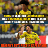 Jadon Sancho 🔥 Will he become a world class player? 👇: Footy Base  BVB'S 18 YEAR-OLD JADON SANCHO  HAS 5 ASSISTS & 1GOAL THIS SEASON  IN ONLY 124 BUNDESLIGA MINUTES  BVB  09  EvoniK  BAYERN'S FUTURE IS IN SAFE HANDS Jadon Sancho 🔥 Will he become a world class player? 👇