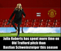 😂😂😂😂: FOOTY  JOKES  Julia Roberts has spent more time on  Old Trafford pitch than  Bastian Schweinsteiger thisseason 😂😂😂😂