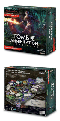 novelty-gift-ideas:  Dungeons  Dragons Tomb of Annihilation  : FOR 1 TO5 PLAYERS  WizKids EXCLUSIVE Bundle ($2o Value)  CODE INSIDE!  02  TOMBOF  ANNIHILATION  B O A R D G A M E  DESIGNED BY  DUNGEONS &DRAGONS  KEVIN WILSON  WiZK!DS   THE DEATH CURSE GROWS AND  THE SOULS OF THE WORLD ARE IN PERIL!  .20  ieN novelty-gift-ideas:  Dungeons  Dragons Tomb of Annihilation