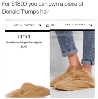 Donald Trump, Gucci, and Goat: For $1800 you can own a piece of  Donald Trumps hair  NET-A-PORTER  NET-A-PORTER  E  @thene  Clan  GUCCI  Horsebit detailed goat hair slippers  $I,800 Tag someone that needs this. thenewsclan nyfw fashun trump