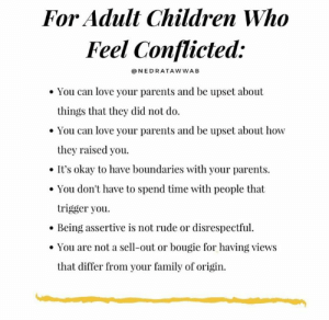 Children, Dank, and Family: For Adult Children Who  Feel Conflicted:  NEDRATAWWAB  You can love your parents and be upset about  things that they did not do  You can love your parents and be upset about how  they raised you.  It's okay to have boundaries with your parents  You don't have to spend time with people that  trigger you  Being assertive is not rude or disrespectful  You are not a sell-out or bougie for having views  that differ from your family of origin. You can love people and still disagree.  (via Instagram.com/nedratawwab)