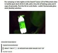 Hey, science side of r/tumblr- does this work?: For camping or late nights at the beach? Leave 1/4 of Mountain dew  in bottle (just dont drink it all), add a tiny bit of baking soda and 3  caps of peroxide. Put the lid on and shake walla! Homemade glow  stick (bottle) solution  strawberriesandiane:  ingoschoicecaboose:  WHAT THE IS MOUNTAIN DEW MADE OUT OF  human souls Hey, science side of r/tumblr- does this work?