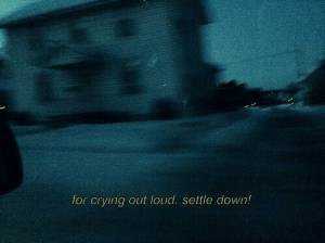 settle down: for crying out loud. settle down!