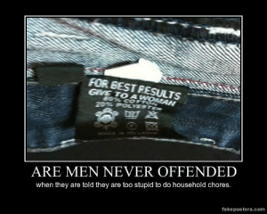 very-demotivational:  Are Men Never Offended - Demotivational Poster: FOR EEST RESULTS  GVE TO A  ARE MEN NEVER OFFENDED  when they are told they are too stupid to do household chores.  fakeposters.com very-demotivational:  Are Men Never Offended - Demotivational Poster