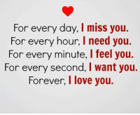 ✔❤: For every day, I miss you.  For every hour, I need you.  For every minute, l feel you.  For every second, I want you.  Forever, love you. ✔❤
