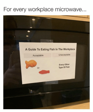 Guide To: For every workplace microwave.  A Guide To Eating Fish In The Workplace  Acceptable  Unacceptable  Every Other  Type Of Fish  Or