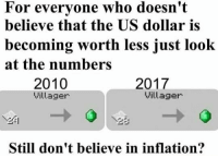 Dank Memes, Us Dollar, and  Worth: For everyone who doesn't  believe that the US dollar is  becoming worth less just look  at the numbers  2017  2010  Villager  Villager  Still don't believe in inflation?