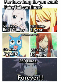 Memes, Zero, and Fairies: For how long you want  do Fairy Tail continue?  50 Likes  100 Likes  End it today  1 year  #WeLoveFairy Tail 1  150  Likes  200 Likes  5 years  10 years  250 Likes  Forever! Atleast 2 more years :)  Jellal Fernandes | Fairy Tail Zero