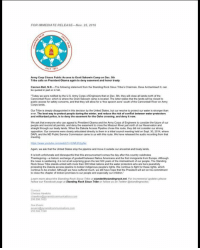 "Standing Rock Sioux Tribe's official response to the Army Corp of Engineers eviction notice: FOR IMMEDIATE RELEASE Nov. 25, 2016  Army Corp Closes Public Access to oceti Sakowin Camp on Dec 5th  Tribe calls on President obama again to deny easement and honor treaty  Cannon Ball, NJD  The following statement from the Standing Rock Sioux Tribe's Chairman Dave Archambault  II, can  be quoted in part or in full  ""Today  we were notied by the US Army Corps of Engineers that on Dec. 5th they will close allands north of the  Cannonball River, which is where the ocet Sakowin camp is located. The letter states that thelands wil be closed to  public access for safety concerms, and that they will alow for a free speech zone south of the Cannonball River on Army  Corps lands.  Our Trbeis deeply disappointed in this decision by the United States. but our resolve to protect our water is stronger than  ever. The best way to protect people during the winter, and reduce the risk of conflic  between water protectors  and militarized police, s to deny the easement for the Oahe crossing, and denyitnow.  We ask that everyone who can appeal to President Obama and the Army  Engineers to consider the future of our  people and rescind al permits, and deny the easement  just north of our Reservaton and  straight through our treaty lands. When the Dakota Access Pipeline chose this route, they did not consider our  opposition Our concerns were  clearly articulated drectly to them in a  tribal councilmeeting held on Sept. 30, 2014, where  DAPL and the ND Public Service Commission came to us with this route Wehave released the audio recording from that  Again we ask that the United States stop the pipeline and move it outside our ancestral and treaty lands.  is both unfortunate and disrespectulthat this announcement comes the day after his country celebrates  Thanksgiving historic exchange of goodwil between Native Armericans and the fist immigrants from Europe. Although  people. The Standing  the news is  it is not at all surprising given the last 500 years of the mistreatment  Rock Sioux Tribe stands united with more than 300 tribal nations and the water protectors who are here peacefully  protesting the Dakota access ppeline to bolster indigenous people's rights. We continue to fight for these rights. which  to be eroded. Athough  we have suffered much, we stil have hope that the President wil act on his commitment  to close the chapter of broken promises to our people andespecially our children.  Learn more about the Standing Rock Sour Tribe at  tandwithstandingrocknet.  For incremental updates please  follow our Facebook page at  Standing Rock Sioux Tribe  or folow us on Twitter @standingrockst Standing Rock Sioux Tribe's official response to the Army Corp of Engineers eviction notice"