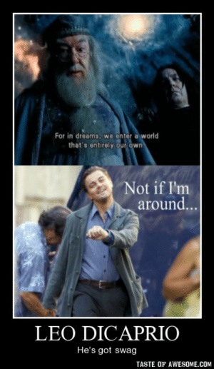 leo dicapriohttp://omg-humor.tumblr.com: For in dreams, we enter a world  that's entirely our own.  Not if I'm  around...  LEO DICAPRIO  He's got swag  TASTE OF AWESOME.COM leo dicapriohttp://omg-humor.tumblr.com