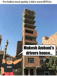 Memes, India, and 🤖: For India's most quirky t-shirt: www.WYo.in  Mukesh Ambani's  drivers house...  APPU Credit - Riitesh Panndya