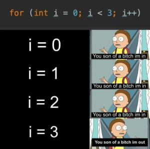 I am boolean: for (int i = 0; i < 3; i++)  i = 0  You son of a bitch im in  i = 1  You son of a bitch im in  i = 2  You son of a bitch im in  i = 3  You son of a bitch im out I am boolean