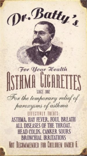 Children, Head, and Tumblr: For Jou abealth  SINCE 1002  ox the temhoraay xelieto  haroayoms of asthma  EFFECTIVLY TREATS  ASTHMA, HAY FEVER, FOUL BREATH  ALL DISEASES OF THE THROAT,  HEAD COLDS, CANKER SOURS  BRONCHIAL IRRITATION  NOT HEOMMENDED FIR CHILUREN UNDER . dankyoubasedgod:  yotlizz:  Vintage ads. Asthma cigarettes. Strange…  *not recommended for children under 6