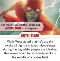 Follow @factsofflash for all the best facts on everything Flash related!! @factsofflash⚡️ @factsofflash⚡️ @factsofflash⚡️ @factsofflash⚡️ ⠀⠀⠀⠀⠀⠀⠀⠀⠀⠀⠀⠀⠀⠀⠀⠀⠀⠀⠀⠀⠀⠀⠀⠀⠀⠀⠀⠀⠀⠀⠀⠀⠀⠀ ⠀⠀---------------------: For more facts like this, check out  OF  on Instagram  FACTSUL'FlASN  Wally West stated that he's usually  awake all night and takes micro-sleeps  during the day while people are blinking.  He's even known to catch forty winks in  the middle of a boring fight. Follow @factsofflash for all the best facts on everything Flash related!! @factsofflash⚡️ @factsofflash⚡️ @factsofflash⚡️ @factsofflash⚡️ ⠀⠀⠀⠀⠀⠀⠀⠀⠀⠀⠀⠀⠀⠀⠀⠀⠀⠀⠀⠀⠀⠀⠀⠀⠀⠀⠀⠀⠀⠀⠀⠀⠀⠀ ⠀⠀---------------------