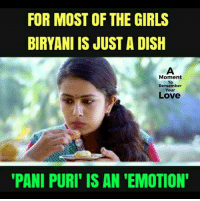 Girls, Love, and Memes: FOR MOST OF THE GIRLS  BIRYANI IS JUST A DISH  Moment  To  Remember  Your  Love  PANI PURI' IS AN 'EMOTION