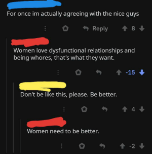 On a post about a buff guy shooting up his ex lover: For once im actually agreeing with the nice guys  8  Reply  Women love dysfunctional relationships and  being whores, that's what they want.  -15  Don't be like this, please. Be better.  4  Women need to be better.  -2 On a post about a buff guy shooting up his ex lover