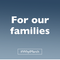 Health care. Fair pay. Discrimination protections. We're marching for everything our families rely on. #WhyIMarch: For our  families  #Whyl March Health care. Fair pay. Discrimination protections. We're marching for everything our families rely on. #WhyIMarch
