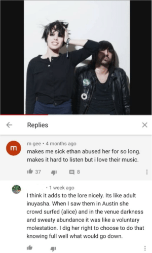 For people unfamiliar with the band and story: This is Crystal Castles. Fairly recently, the abuse of Alice (left) by Ethan (right) came out. Some Niceguy on YouTube this dude insinuates that Alice volunteered to be groped and molested while crowd surfing in Austin.: For people unfamiliar with the band and story: This is Crystal Castles. Fairly recently, the abuse of Alice (left) by Ethan (right) came out. Some Niceguy on YouTube this dude insinuates that Alice volunteered to be groped and molested while crowd surfing in Austin.