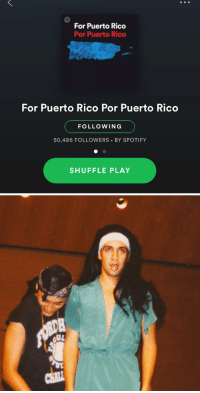 I promised you a college pic of me in drag as @JLo if this charity @Spotify playlist hit 50K. I keep my promises. https://t.co/noTypSwOUG: For Puerto Rico  Por Puerto Rico  For Puerto Rico Por Puerto Rico  FOLLOWING  50,486 FOLLOWERS BY SPOTIFY  SHUFFLE PLAY I promised you a college pic of me in drag as @JLo if this charity @Spotify playlist hit 50K. I keep my promises. https://t.co/noTypSwOUG