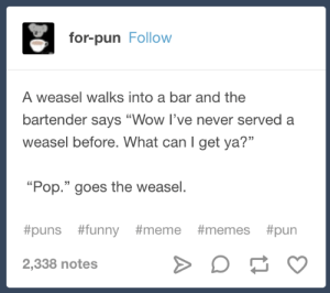 "This weasel is going places.: for-pun Follow  A weasel walks into a bar and the  bartender says ""Wow I've never served a  weasel before. What can I get ya?""  13  ""Pop."" goes the weasel.  #puns #funny #meme #memes #pun  2,338 notes This weasel is going places."
