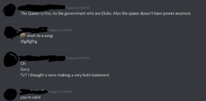 For reference, my custom status was a quote from a song saying 'Kill the queen for the crown and the money.': For reference, my custom status was a quote from a song saying 'Kill the queen for the crown and the money.'