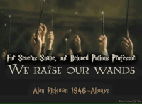 Harry Potter, Alan Rickman, and Snape: For Sevens Snape, our Beloved Potions Professor  WE RAISE OUR WANDS  Alan Rickman 1946-Always <3