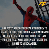 Disney, Facts, and Meme: FOR SONY'S PART OF THE DEAL WITH DISNEY TO  SHARE THE PROFITS OF SPIDER-MAN HOMECOMING  THEY GET TO KEEPTHE FULL BOX OFFICE TAKE  FROM THE FILM. WHILE DISNEY GET TO KEEP THE  RIGHTS TO MERCHANDISE.  - Who's hyped for July the 7th? -  - - - - marvel marveluniverse dccomics marvelcomics dc comics hero superhero villain xmen apocalypse xmenapocalypse mu mcu doctorstrange spiderman deadpool meme captainamerica ironman teamcap teamstark teamironman civilwar captainamericacivilwar marvelfact marvelfacts fact facts suicidesquad