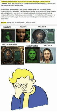 Fallout Memes: For the first time in he series, players wilhave the option of playing as a female character  Courtenay Taylor, who provides the voice of the female survivor, said the abity to customize adds  even more to the agency players receive  A lot of women play games and a lot of men don't want to play as men, they want to play as  something different. Taylor said. Thats the beauty of gaming. you can design your player character  to be nothing like you. Idon't want to do a husky voiced brunette chick. I want to do something  completely different than what I wake up and do everyday.  It's important to have al those options for  people who don't want to play as themselves or who do want to play as themselves and want to be  Falout 4 releases Nov. 10 on Playstation4.Xbox One and PC.  FALLOUT  1  FALLOUT 2  FALLOUT 3  FALLOUT NEW VEGAS  FALLOUT 4  FALLOUT TACTICS