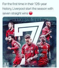 Liverpool 👏😳: For the first time in their 126-year  history, Liverpool start the season with  seven straight wins  Sta  Standard  Chartered  an  BR  FOOTBALL Liverpool 👏😳