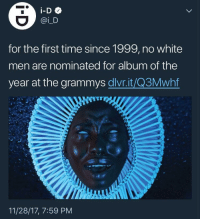 Blackpeopletwitter, Grammys, and Time: for the first time since 1999, no white  men are nominated for album of the  year at the grammys dlvr.it/Q3Mwhf  11/28/17, 7:59 PM <p>It's been that long? (via /r/BlackPeopleTwitter)</p>